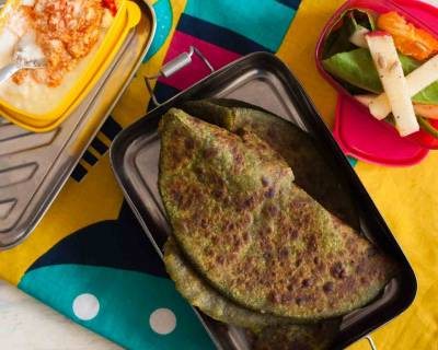 Lunch Box Ideas :Paneer Palak Paratha & Apple Salad In Orange Dressing