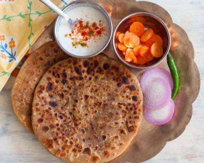 Breakfast Meal Plate: Diabetic Friendly Stuffed Rajma and Horse gram Paratha,Curd & Coffee