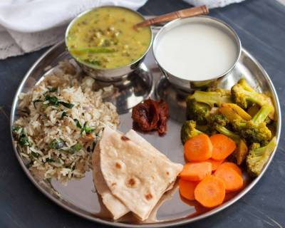 Everyday Meal Plate: Sattvik Recipes with Green Mung Bean Dal, Broccoli Stir Fry & Methi Pulao