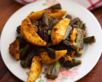 Spicy Aloo Bhindi Ki Sabzi Recipe - Potatoes Lady's Finger Stir Fry