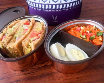 Lunch with Vaya Tyffyn: Masala Sandwich, Carrot and Cucumber Salad & Boiled Eggs