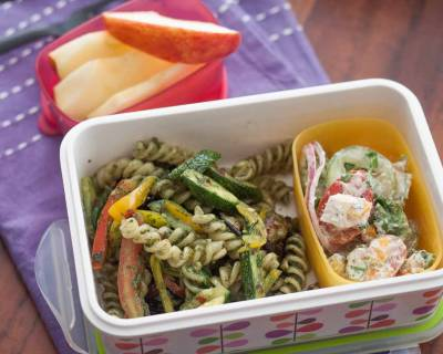 Plan Your Lunch Box Meal Spirulina Basil Pesto Pasta, Fresh Salad and More