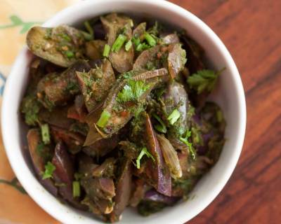 Andhra Style Vankaya Kothimeera Karam Recipe - Brinjal Cooked With Spicy Coriander Mix Recipe