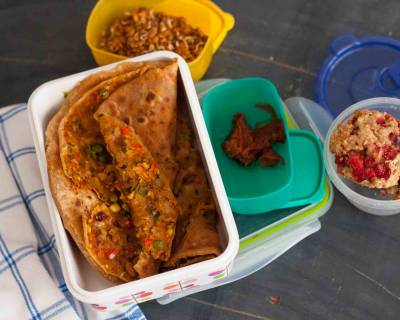 Lunch Box Idea With Tofu, Green Peas & Oats Stuffed Paratha, Instant Pickle And Cookies