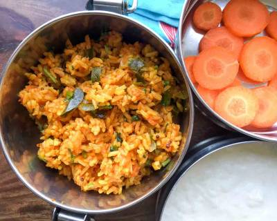 Kids Lunch Box Ideas: Tomato Rice, Homemade Curd & Sliced Carrot