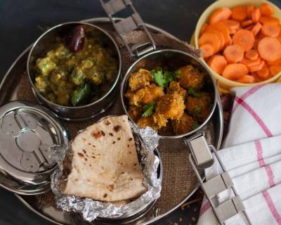 Lunch Box Ideas:Kela Besani Sabzi, Bendekayi Gojju, Phulka and Carrots