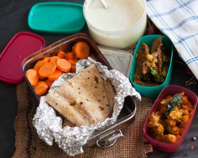 Lunch Box Ideas: Mangalorean Style Chickpeas Sukka and Eggplant Cashewnut Stir Fry Recipes & More