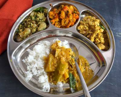 Portion Control Meal Plate : Sambar, Sundal, Corn Carrot Sabzi, Raw Banana Podimas And Rice