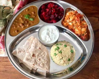 Portion Control Meal Plate : Kadale Kaalu Saaru, Beetroot Poriyal, Millet Pulao & More