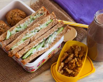 Kids Snack Box: Cucumber Cheese Sandwich,Fruit & Nut Muffin,Banana Chocolate Smoothie Recipes