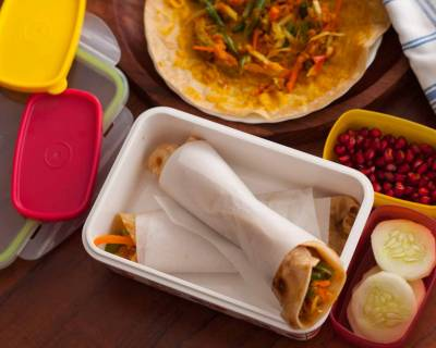 Kids Lunch Box Ideas: Healthy Vegetable Paratha Rolls with Banana Chia Seed Smoothie Recipes