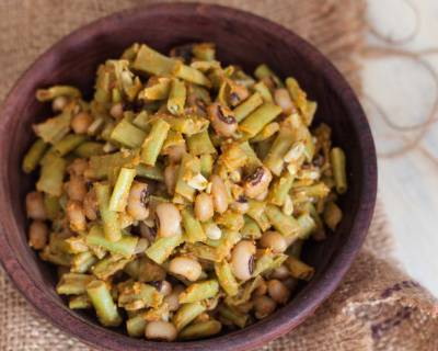 North Indian Style Chawli ki Sabzi Recipe (Long Beans and Black Eyed Beans Dry)