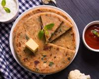Stuffed Matar & Gobi Paratha Recipe (Green Pea & Cauliflower Flat Bread)
