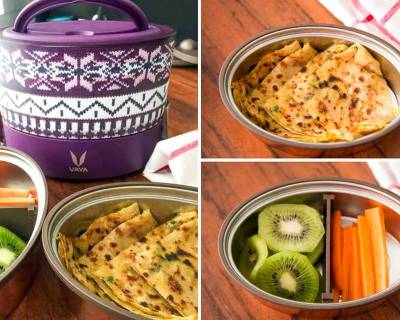 Kids School Lunch with Vaya : Aloo Paratha, Carrot and Kiwi