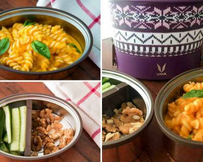 Kids School Lunch with Vaya : Spirali Pasta With Roasted Carrot Sauce, Cucumber & Walnuts