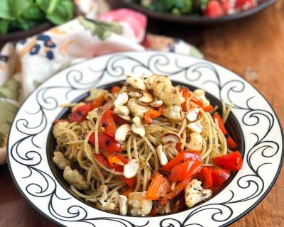 Aglio E Olio Pasta Recipe with Roasted Cauliflower, Peppers & Cashew Nuts