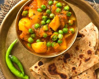 Aloo Matar Sabzi Recipe - Potatoes Peas In Tomato Gravy