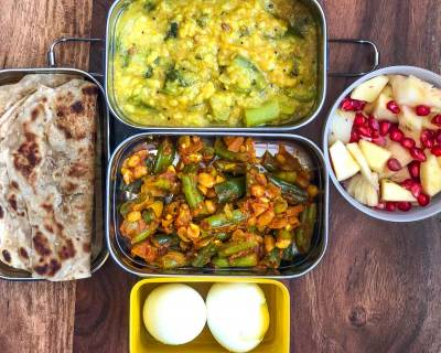 Lunch Box Recipes: Beans Poriyal, Turai Moong Dal, Tawa Paratha, Boiled Egg & Fruits