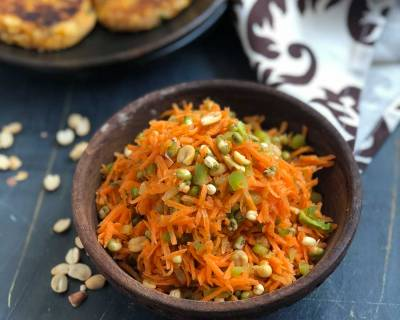Satvik Carrot Sprouts Salad Recipe - No Onion No Garlic