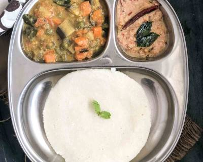 Coorg Breakfast - Thalia Puttu, Kootu Curry, Ellu Pajji