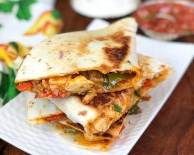 Chilli Paneer Quesadilla Recipe