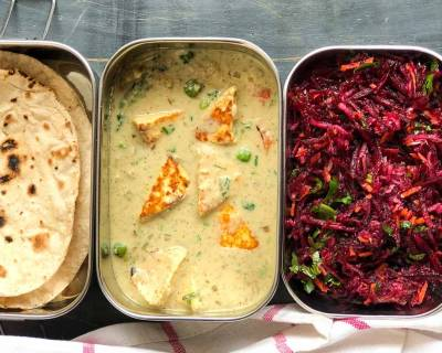Lunch Box Ideas : Hyderabadi Style Nawabi Paneer Gravy,Phulka & Beetroot Salad