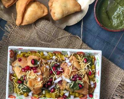 Matar Samosa Chaat Recipe - Delicious Evening Tea Time Snack