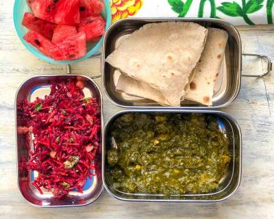 Kids Lunch Box Ideas: Soya Methi Palak Sabzi, Beetroot Salad, Phulka & Watermelon