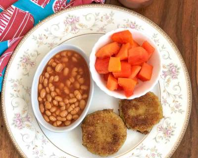 Enjoy A High Protein Breakfast with Chickpea Hash Browns, Baked Beans, Papaya & Chai