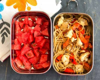 Kids Lunch Box Recipes: Roasted Cauliflower Capsicum Pasta & Watermelon