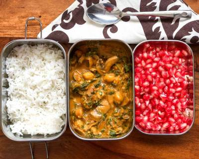 Lunch Box Ideas: Mushroom Spinach & Chickpea Curry,Steamed Rice & Pomegranate
