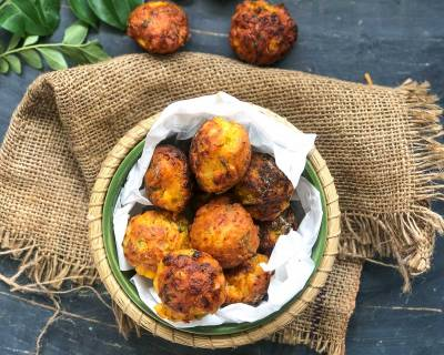 Mixed Vegetable Corn Pakora Recipe - Made In Kuzhi Paniyaram Pan