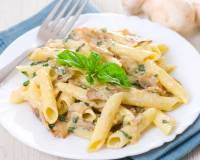 Penne Pasta Recipe In Alfredo Sauce With Roasted Mushrooms