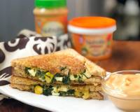 Cheesy Garlic Spinach Corn Paneer Sandwich Recipe