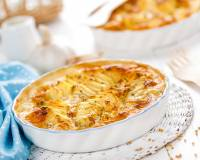 Cheesy Baked Potato Gratin With Sweet Corn