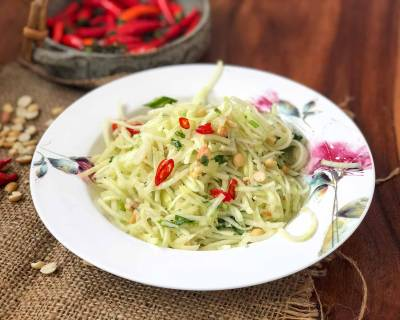 Thai Raw Papaya Salad Recipe With Lemon Peanut & Honey Dressing