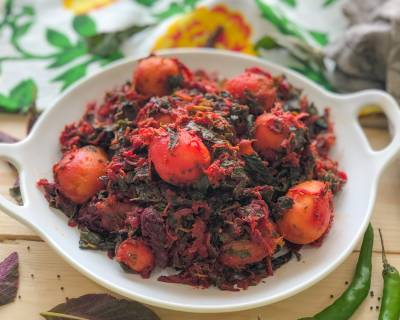 Beetroot, Aloo & Amaranth Leaves Sabzi Recipe