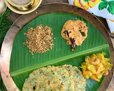 Karnataka Style Breakfast Of Akki Roti, Chutney, Podi And Kashi Halwa For Your Weekday