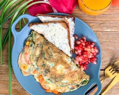 Cheesy Masala Omelette Recipe With Roasted Vegetables