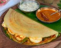 Egg Roast Masala Dosa Recipe - With Moong Dal Dosa Batter