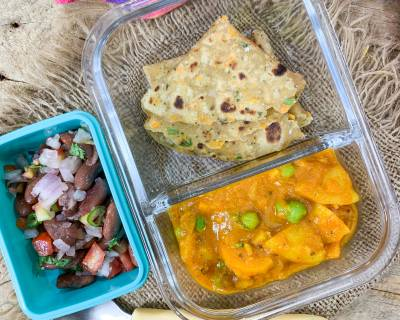 Kids Lunch Box : Gajar Aloo Matar Sabzi, Cabbage Carrot Paratha And Rajma Salad