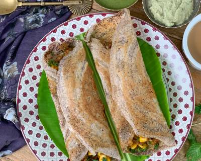 Mushroom Corn Masala Dosa Recipe Using Ragi Idli Dosa Batter