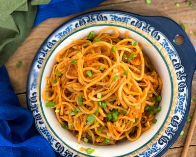Spicy Schezwan Vegetable Noodles Recipe