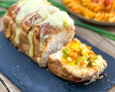 Cheesy Stuffed Schezwan Pav Recipe