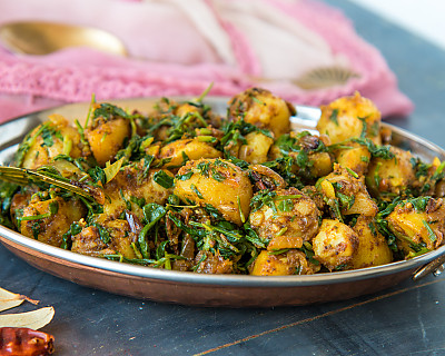 Aloo Methi Sabzi Recipe - Potato Fenugreek Leaves Sabzi
