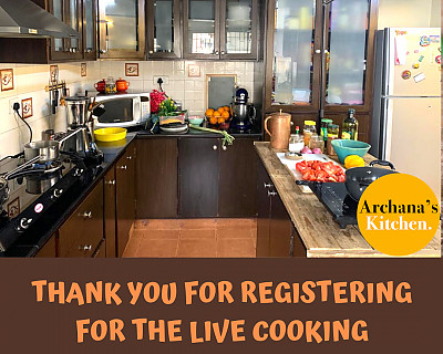 Thank You For Registering For The Live Cooking Classes