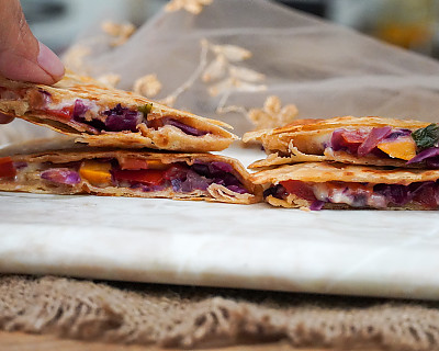 Roasted Vegetable Quesadilla Recipe With Zucchini, Carrots & Red Cabbage