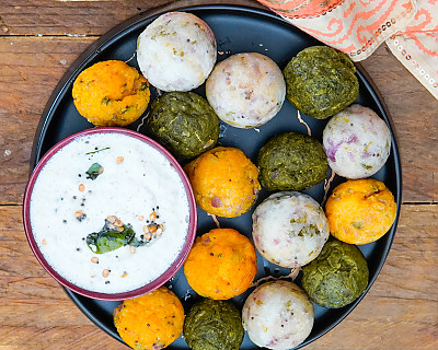 South Indian Paniyaram Recipe - 3 types - Classic, Carrot & Spinach