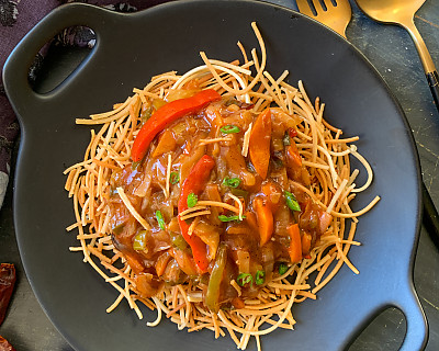 American Chop Suey Recipe - Crispy Noodles Topped With Sweet and Sour Vegetables