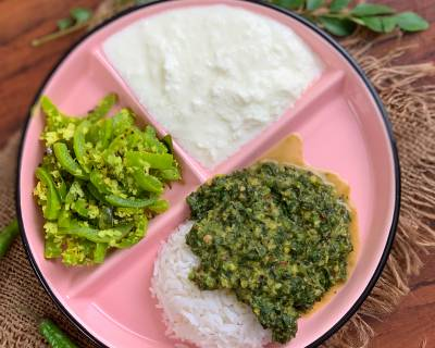 Make This Ayurvedic Meal Of Milagu Keerai Poricha Kootu, Pudalangai Poriyal, Rice And Curd